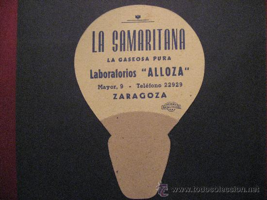 Pay pay promocional de Soda La Samaritana. Fuentes: http://modestino.blogspot.com.es/2012/03/y-todavia-existe.html y http://www.todocoleccion.net/coleccionismo/pay-pay-carton-comic-telefono-samaritana-gaseosa-pura-laboratorios-alloza-zaragoza~x22906379